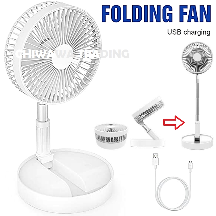 USB Rechargeable Rotatable Telescopic Stand Fan Table Folding Fan Air Conditioner Cooler Auto Vehicle Ventilator / Kipas