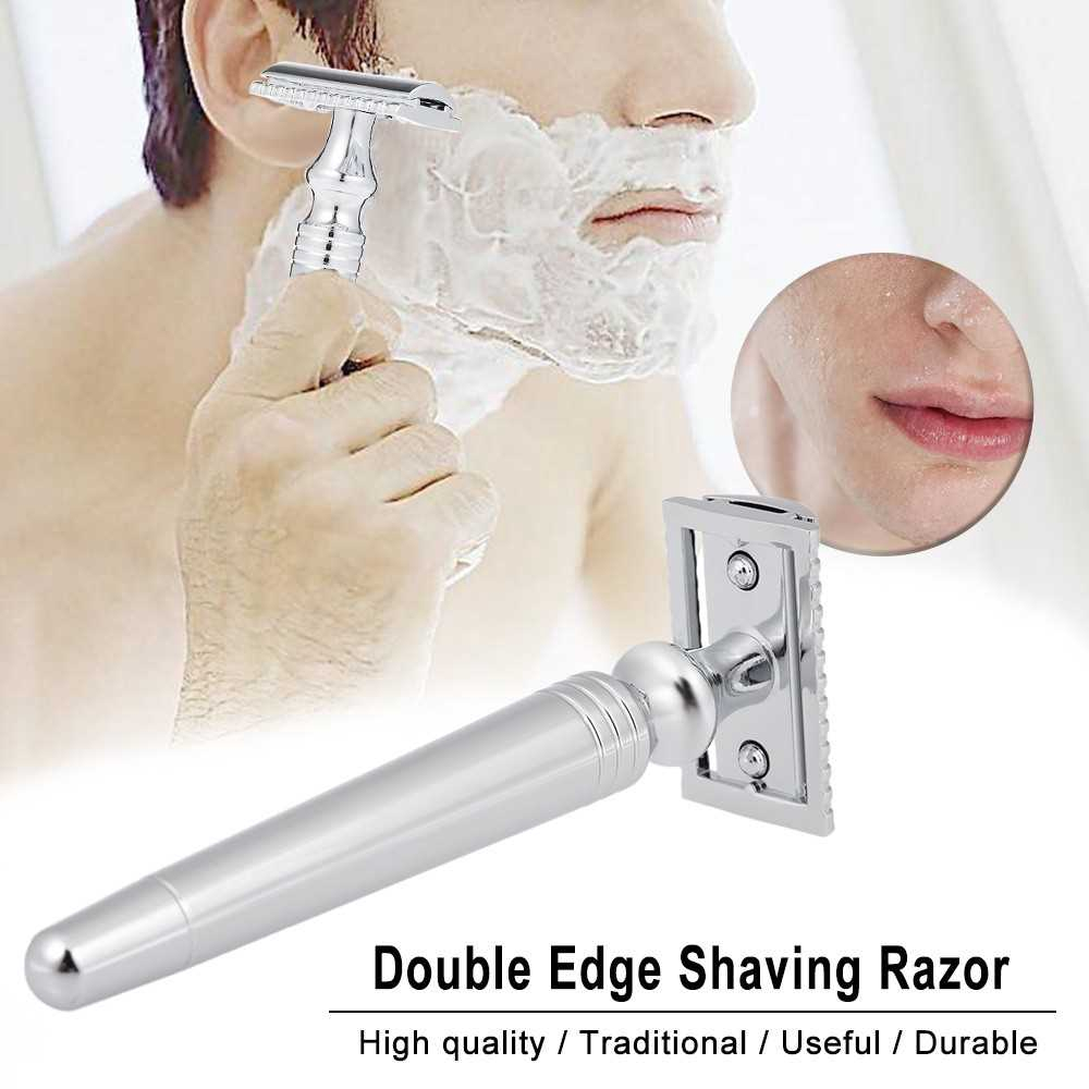 Double Edge Safety Razor Stainless Steel Manual Shaving Razor Long Handle