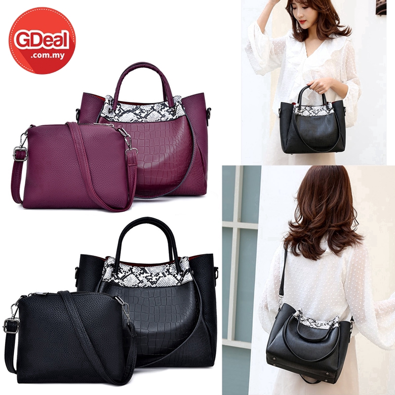 GDeal 2-In-1 PU Leather Female Soulder Handbag Crossbody Messenger Purse Bags Setبيݢ (RYL-305)