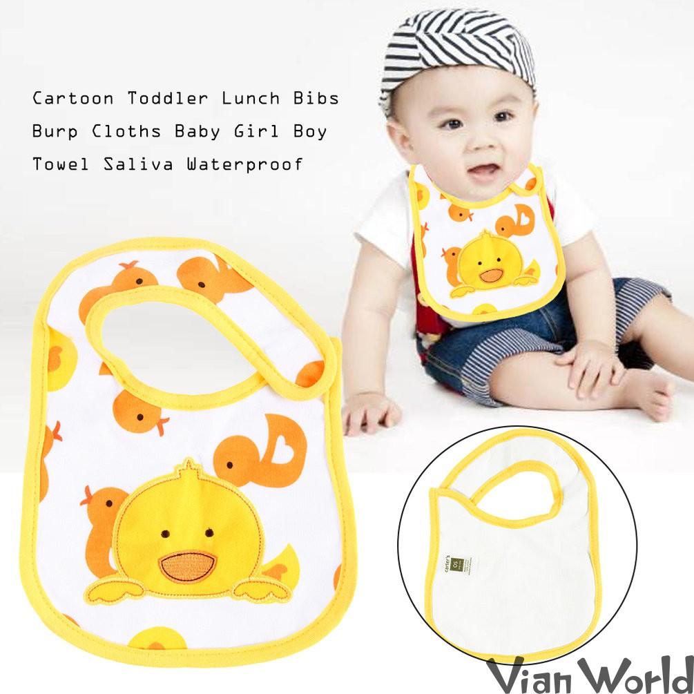 Cartoon Toddler Lunch Bibs Burp Cloths Baby Girl Boy Feeding Saliva Towel L