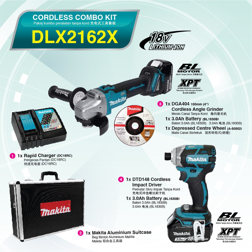 MAKITA DLX2162X 18V CORDLESS ANGLE GRINDER IMPACT DRIVER 175NM BRUSHLESS DGA404