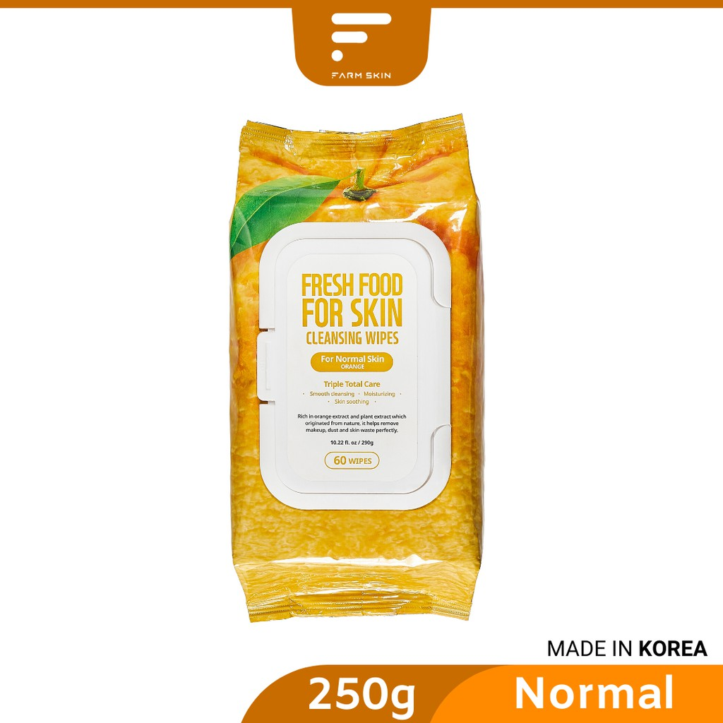 FARMSKIN FRESHFOOD Orange Facial Cleansing Wipes - Normal Skin (60's)