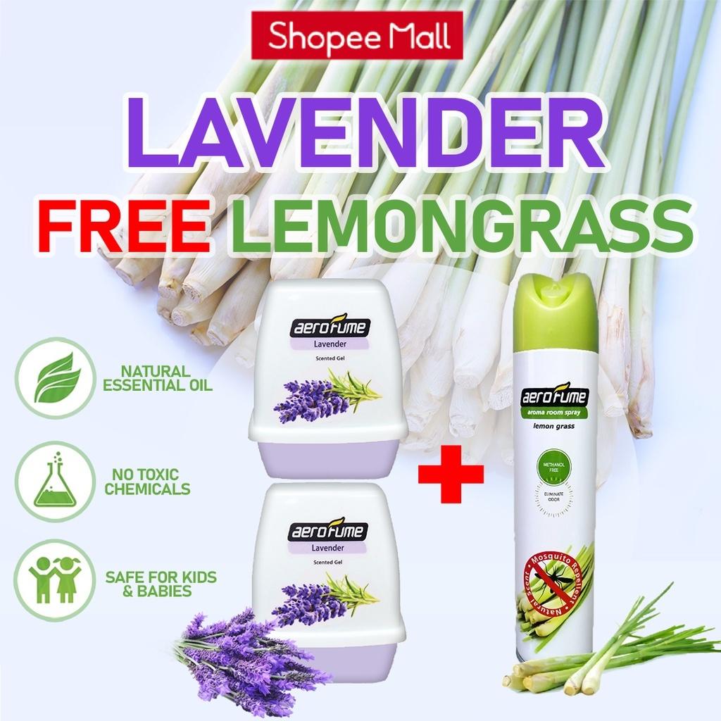Lemon Grass Aroma Spray (1 Pcs) + Lavender Scented Gel (2 Pcs) [Bundle] Fragrance