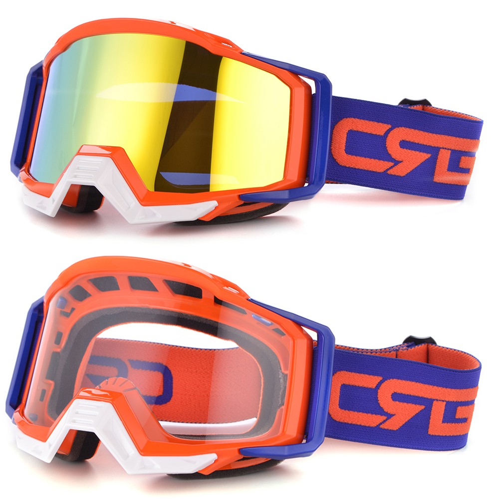 2 Goggles Motorcycle Ski Moped Googles Purple Clear Mirror Off Road Safety ATV