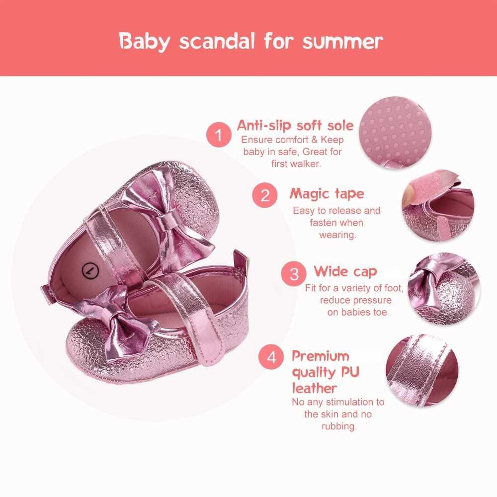 Newborn Baby Girls Shoes PU Leather Soft Sole Non-Slip Prewalker Bowkont Princess Shoes Mary Jane Shoes Pink 13cm (Pink