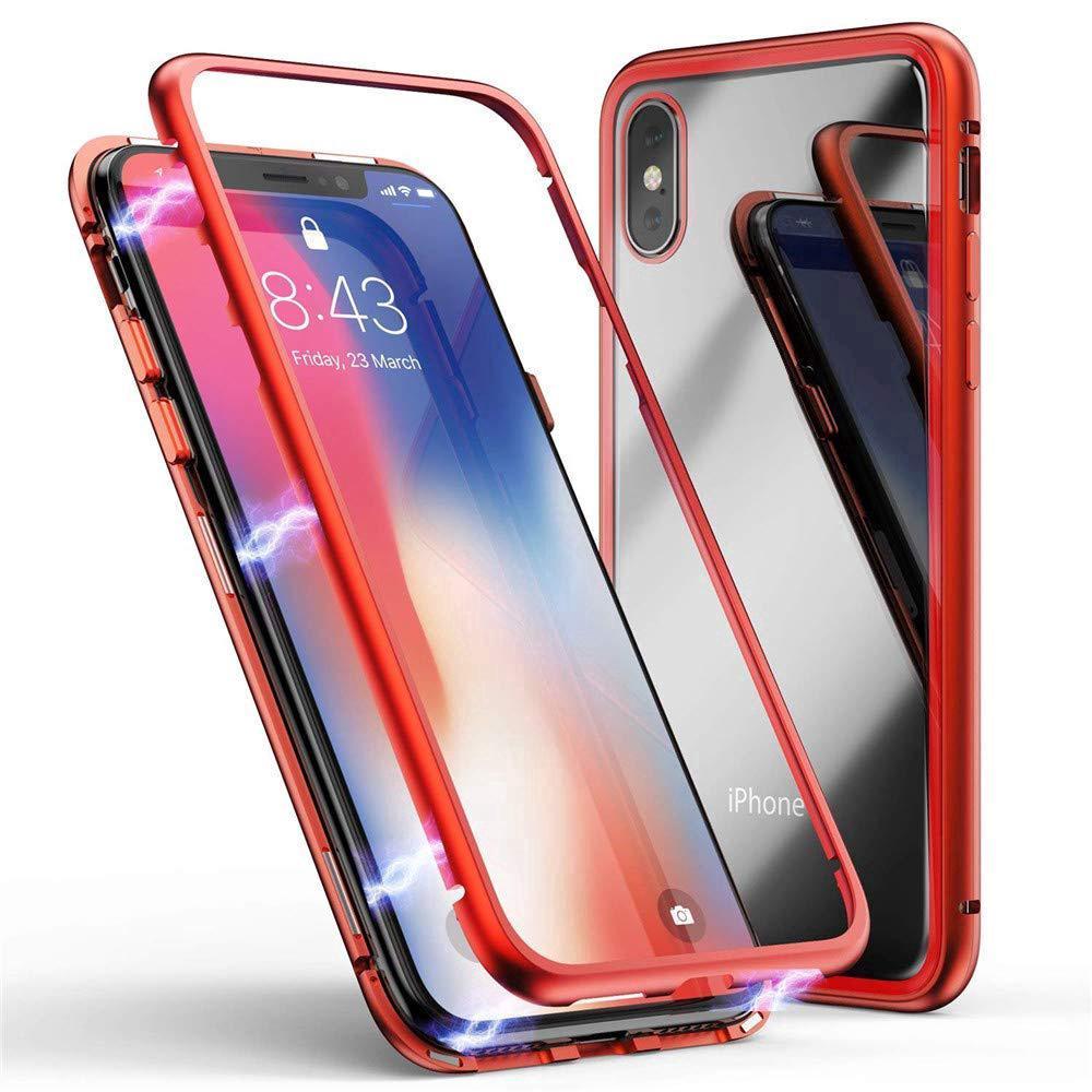 e2b41b279edf48 iPhone 8 XR XS Max Case Cover Magnetic Adsorption Metal Bumper Clear Glass  Back