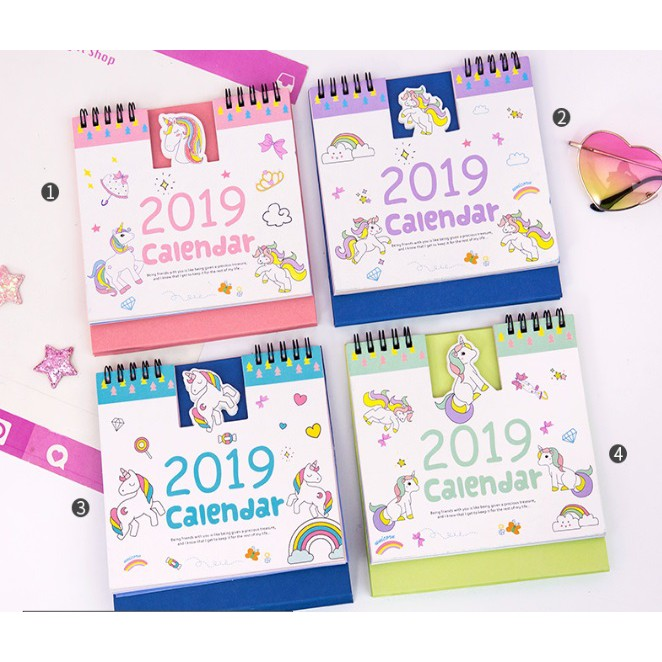 [READY STOCK] Cute Unicorn Pet Cartoon Table Desk Calendar 2019