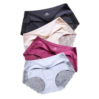 c6b62ab806 4 Pack Womens Panties Seamless Lace Underwear Women Briefs Satin Silk Panty