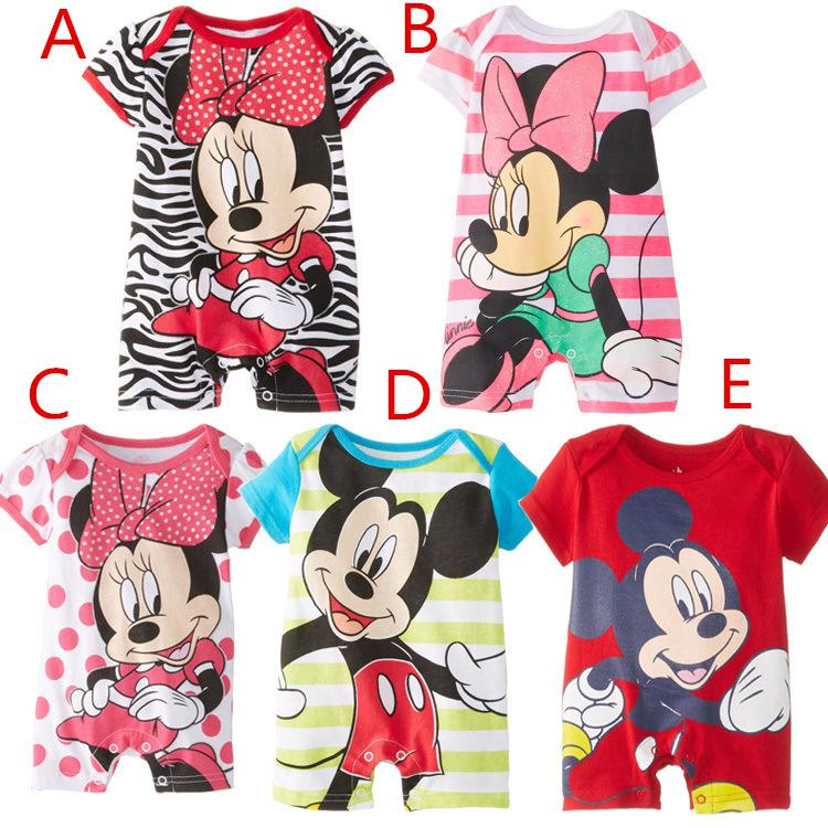 1cca4aedfe Mickey Mouse Baby Boys Girls Rompers Summer Newborn Infant 100 ...