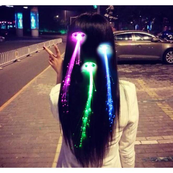 [ready stock] Clip Light-up Flashing Barrette Fiber Optic Hair Led Headwear