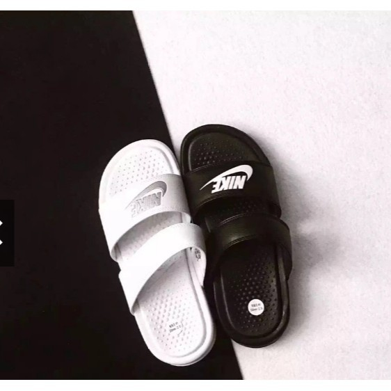 2d76ea37c8db NIKE WMNS BENASSI DUO ULTRA SLIDE Ninja dragging double straps black and  white s