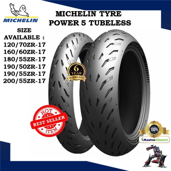 MICHELIN TAYAR POWER 5 (100% ORIGINAL) 120/70ZR 17,160/60ZR 17,180/55ZR 17,190/50ZR 17,190/55ZR 17,200/55ZR 17