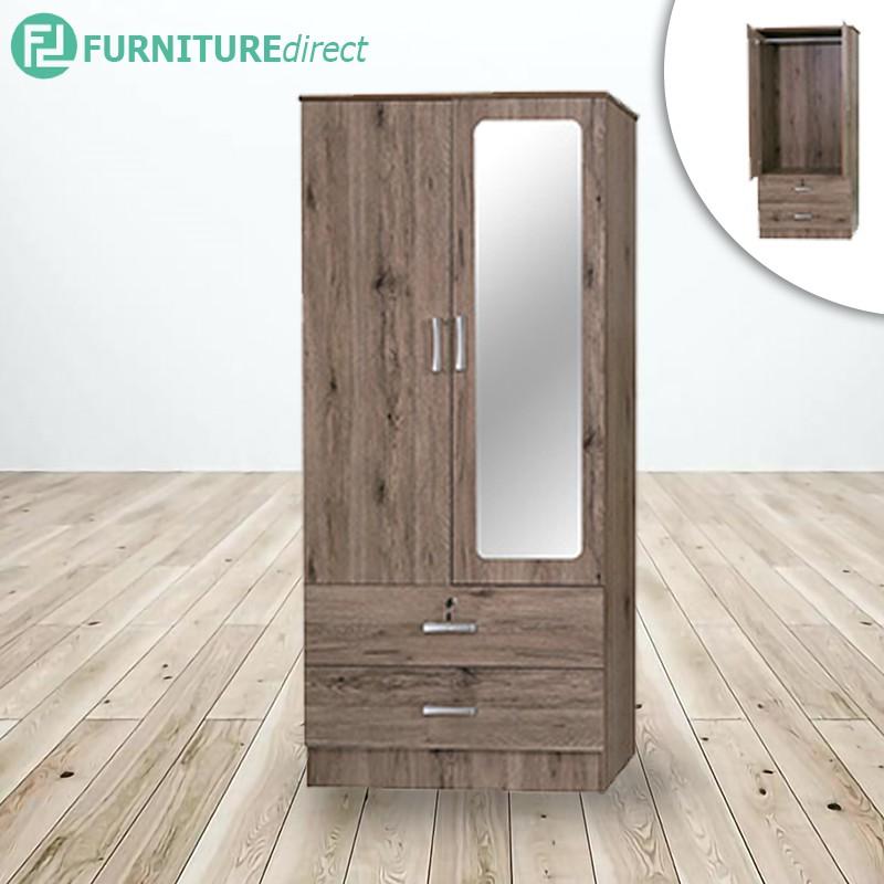 2 DOORS WARDROBE | mirror | wardrobe clothes | kabinet baju | kabinet diy | kabinet ikea | wood cabinet | ikea