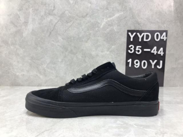 Vans Old Skool All Black Low Top Skateboard Leather Canvas Premium