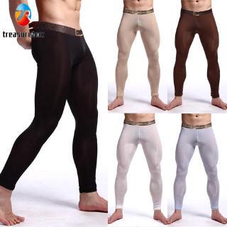 Mens Low Rise Elastic Underwear See Through Long John Pants Nightwear Lingerie