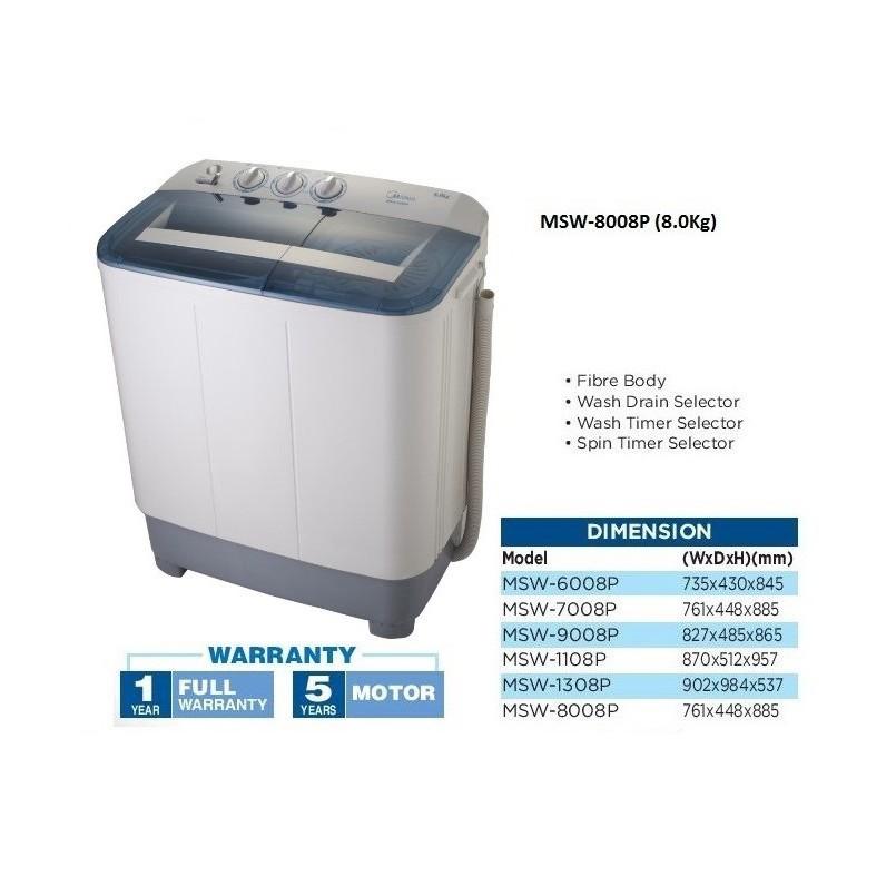 Midea 8Kg Semi auto Washing Machine MSW-8008P