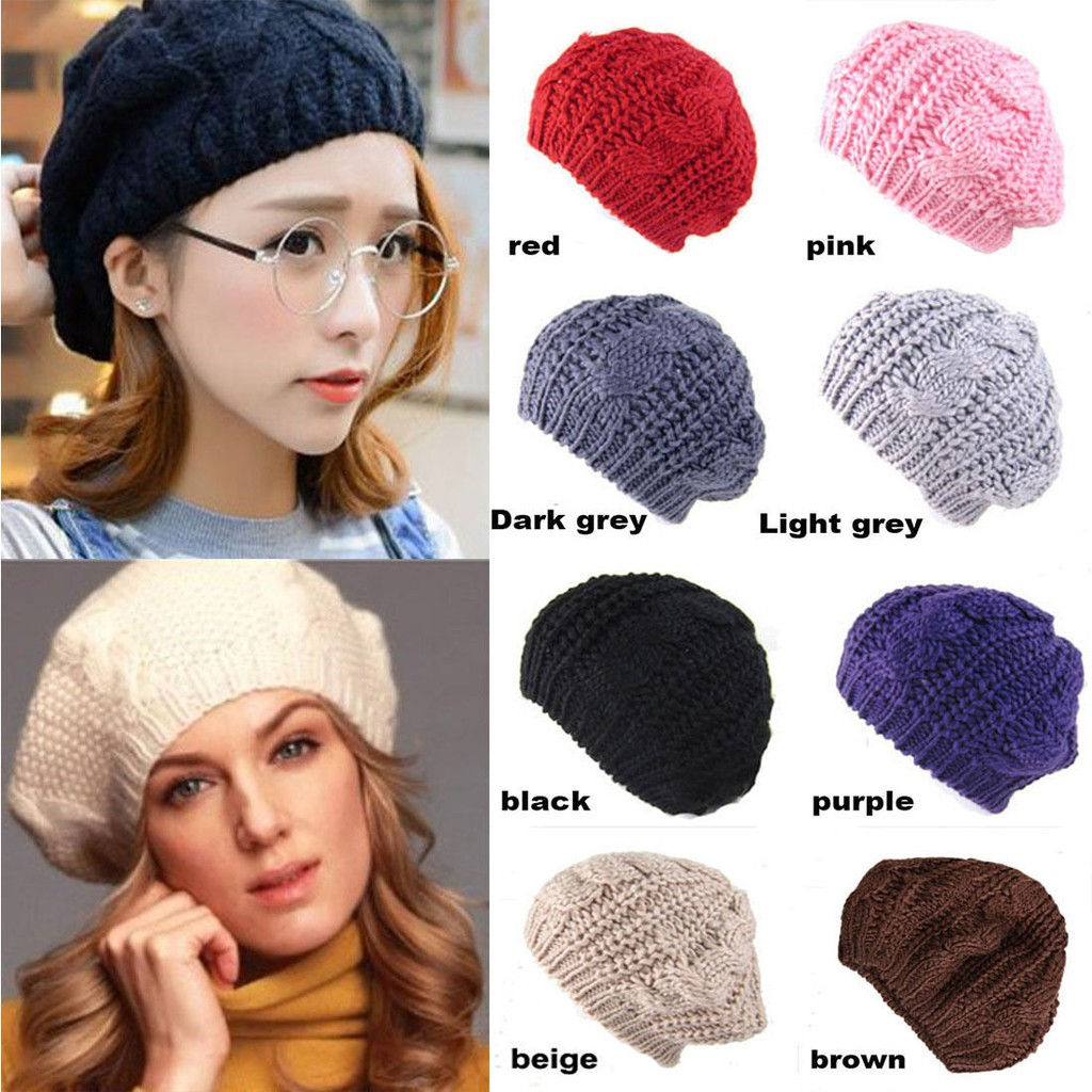 Women Winter Autumn Warm Crochet Knit Slouchy Baggy Beanie Beret Hat
