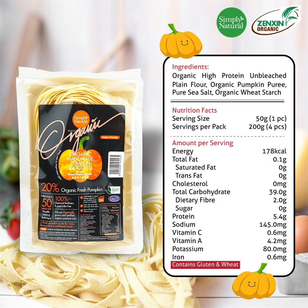 Simply Natural : Zenxin Pumpkin Flavour Noodle | 4 serving, 200g | Premium Flour| Natural ingredients |  100% Organic