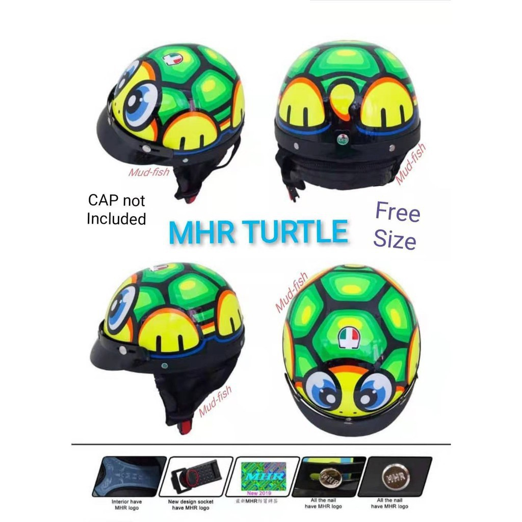 MHR TURTLE/ SHARK Three Quarter Helmet Half Cut Turtle Kura Kura [Ready Stock]
