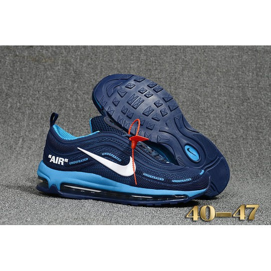 best website 25025 1923e 2018 AirMax x OFF-White x Nike Air Max 97 Game Blue Casual Shoes Sport  Sneakers
