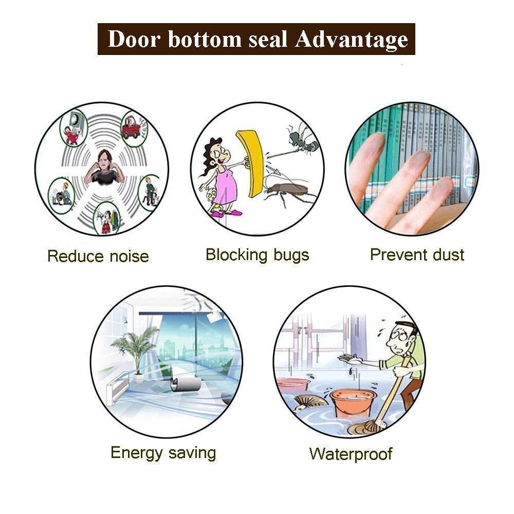 Door lock seal prevents insect home protector seal Three-layer door bottom  seal(height 45 mm) (brown)