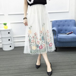 1ef18c485996f Summer Women fashion Flower Embroidery Mesh Skirt Tulle Pleated ...