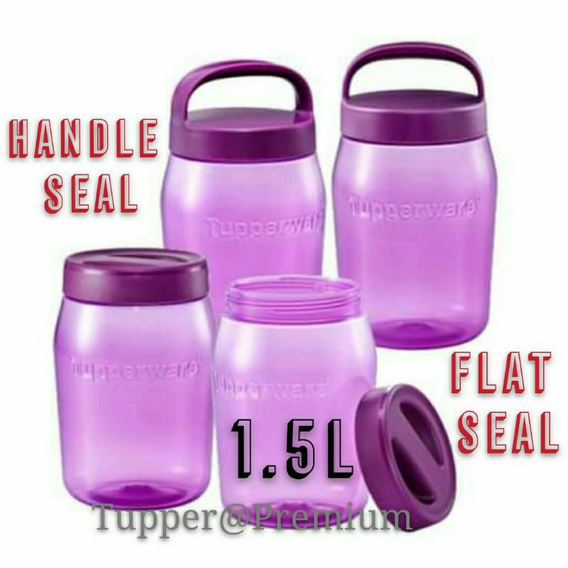 Tupperware Purple Universal Jar Duo Set 1.5L with Handle Seal or Flat Handle