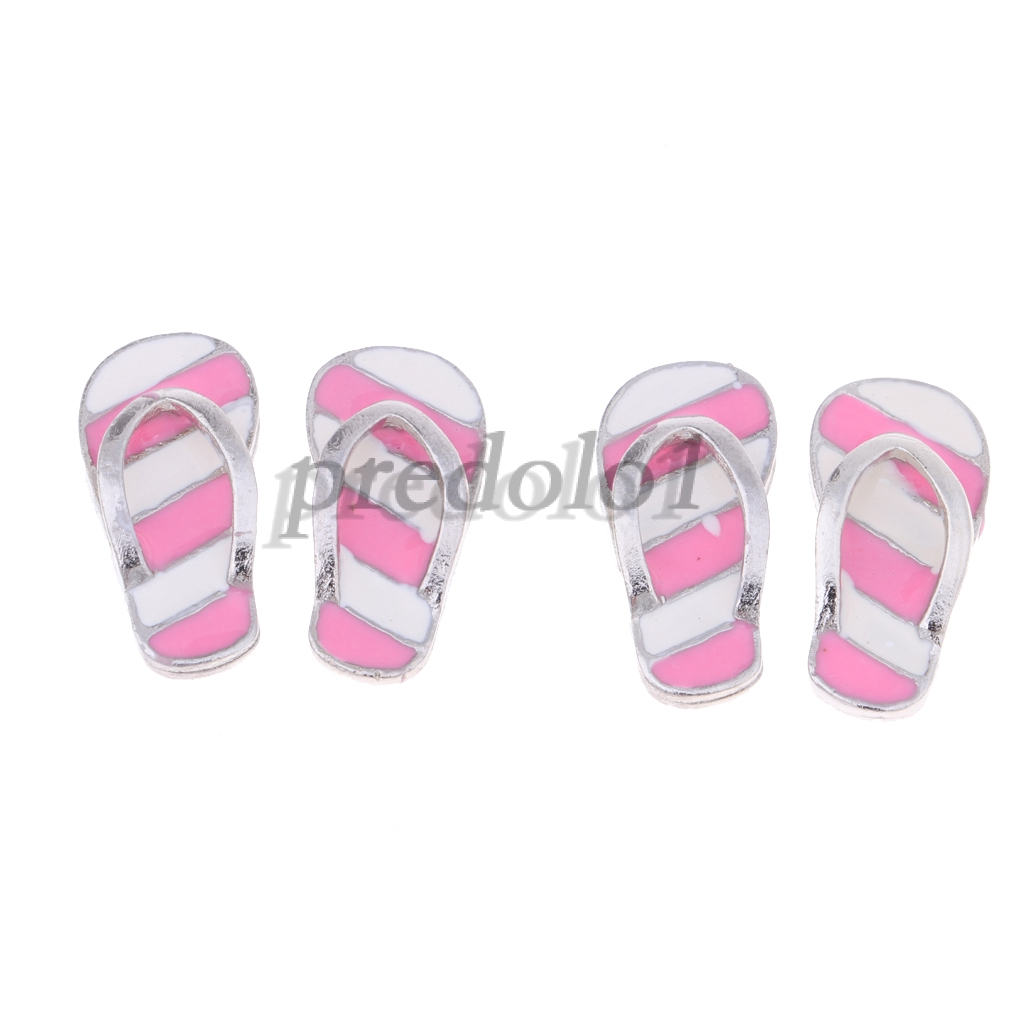Dollhouse Miniature Pair of Pink /& Silver Flip Flops