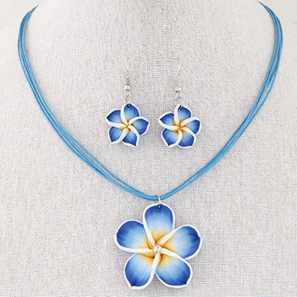 Fashion Hawaii Plumeria Flowers Jewelry Sets Bohemia Polymer Clay