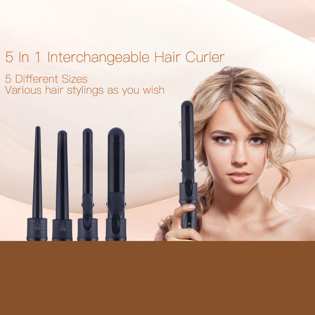 Ckeyin 100 240v 5 In 1 Curling Wand Hair Curler Pink Daftar Harga Travel 3 Interchangeable Iron Shopee Malaysia
