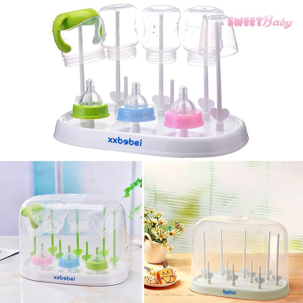 Baby Bottle Drying Rack Bottles Dryer Teats Drainer Drain Draining Tray CB