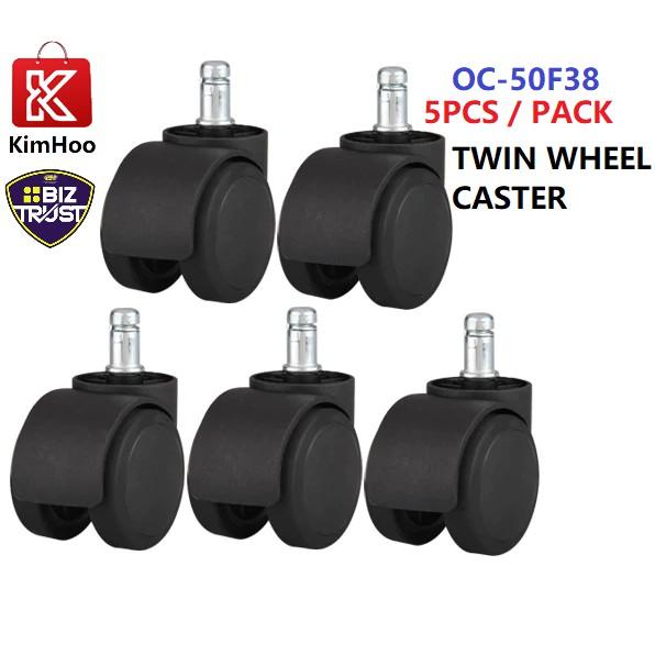 Heavy Duty 5 x Replacement Office Chair Swivel Twin-Wheels Castors Casters Black Color 50mm