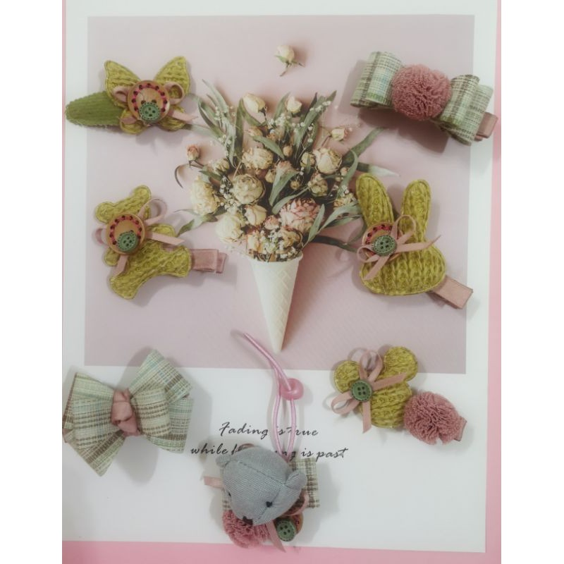 Made to order - Lovely handmade hairband hairclip set (7 pcs)