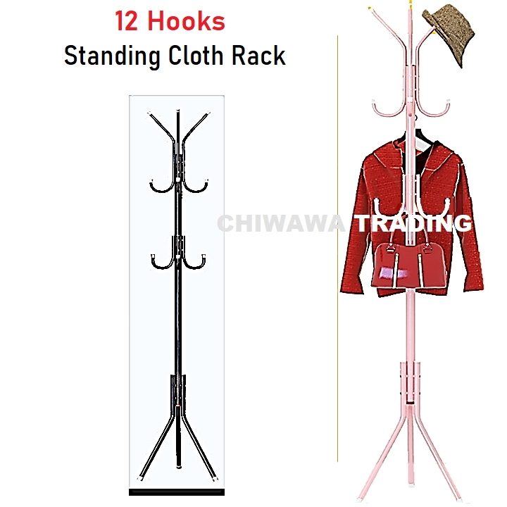 12 Hook DIY Clothes Standing Hanging Rack Cloth Hanger Tree Closet Organizer Drying Shelf Mulig Rak Penyidai Baju