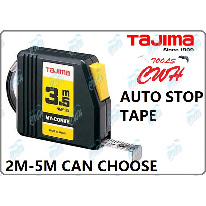 TAJIMA MY-CONVE SHORT STEEL AUTO-STOP MEASUREMENT TAPE MEASURING RULER MEASURER CWH TOOLS BLACK HARDWARE NMY36DY NMY50DY
