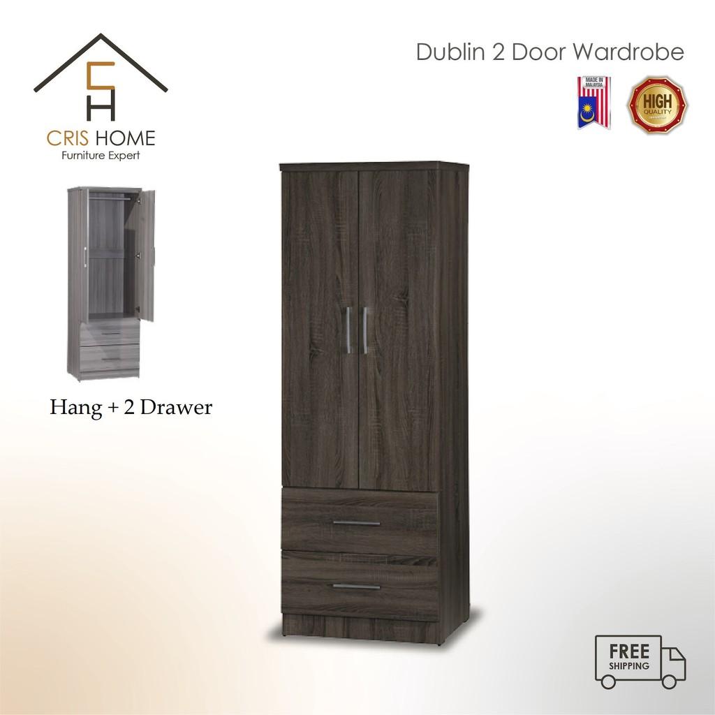 CrisHome - New Product 2020 DUBLiN Two Door 179cm Wardrobe ( Free Shipping to WM)