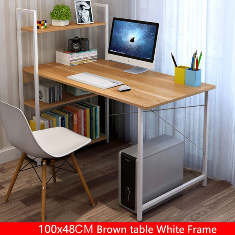Modern Home Office Desk Table With Book Shelf 3 Tier