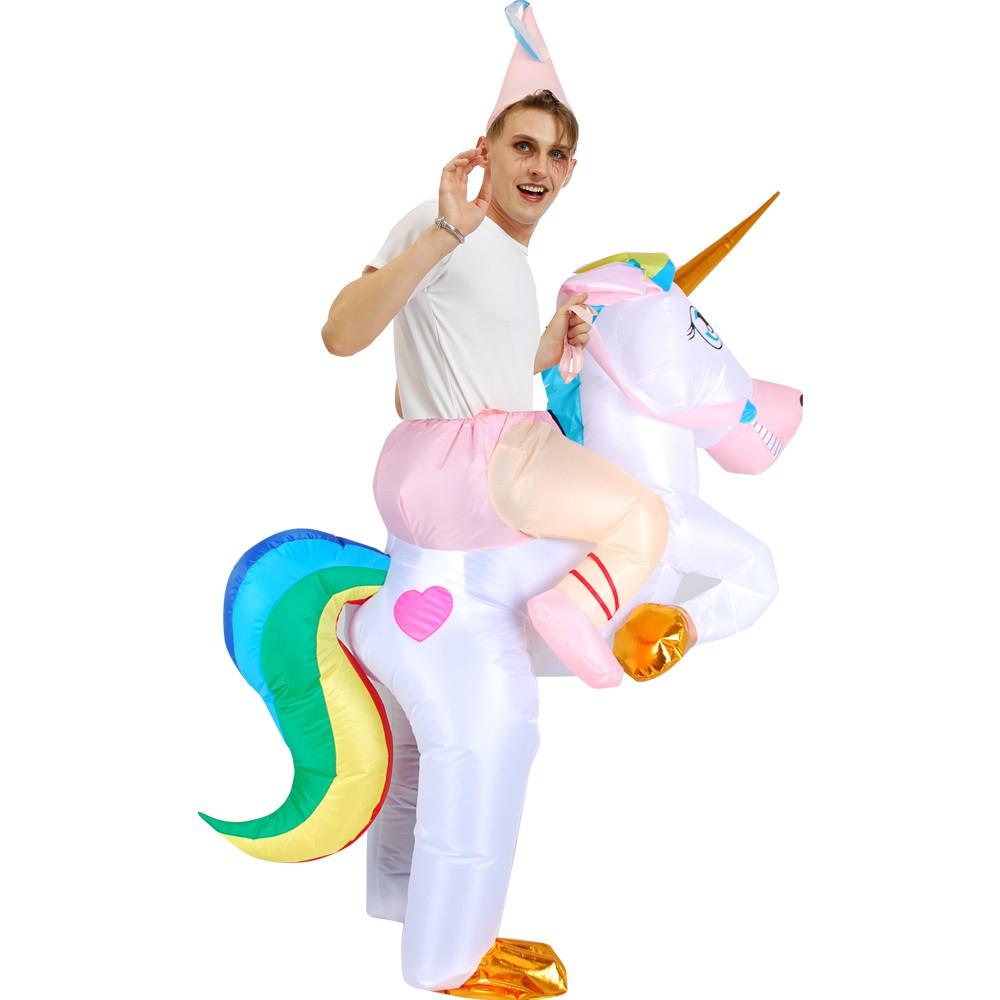 Kooynn Inflatable Dinosaur Costume Adult//Kid Ride on Walking Unicorn Cosplay