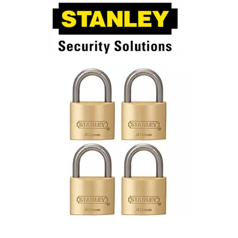 STANLEY STANDARD SHACKLE KEY ALIKE BRASS PADLOCK S827-426 40MM SECURITY LOCK