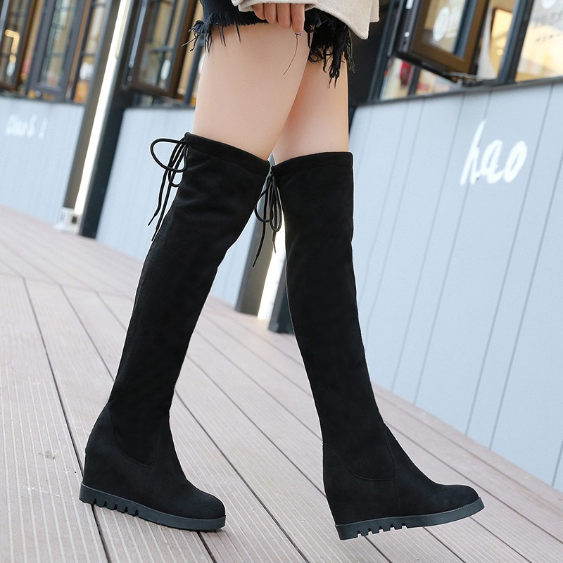 e8b2c11cb7b Over the knee boots women's flat autumn and winter stretch high boots  riding boo