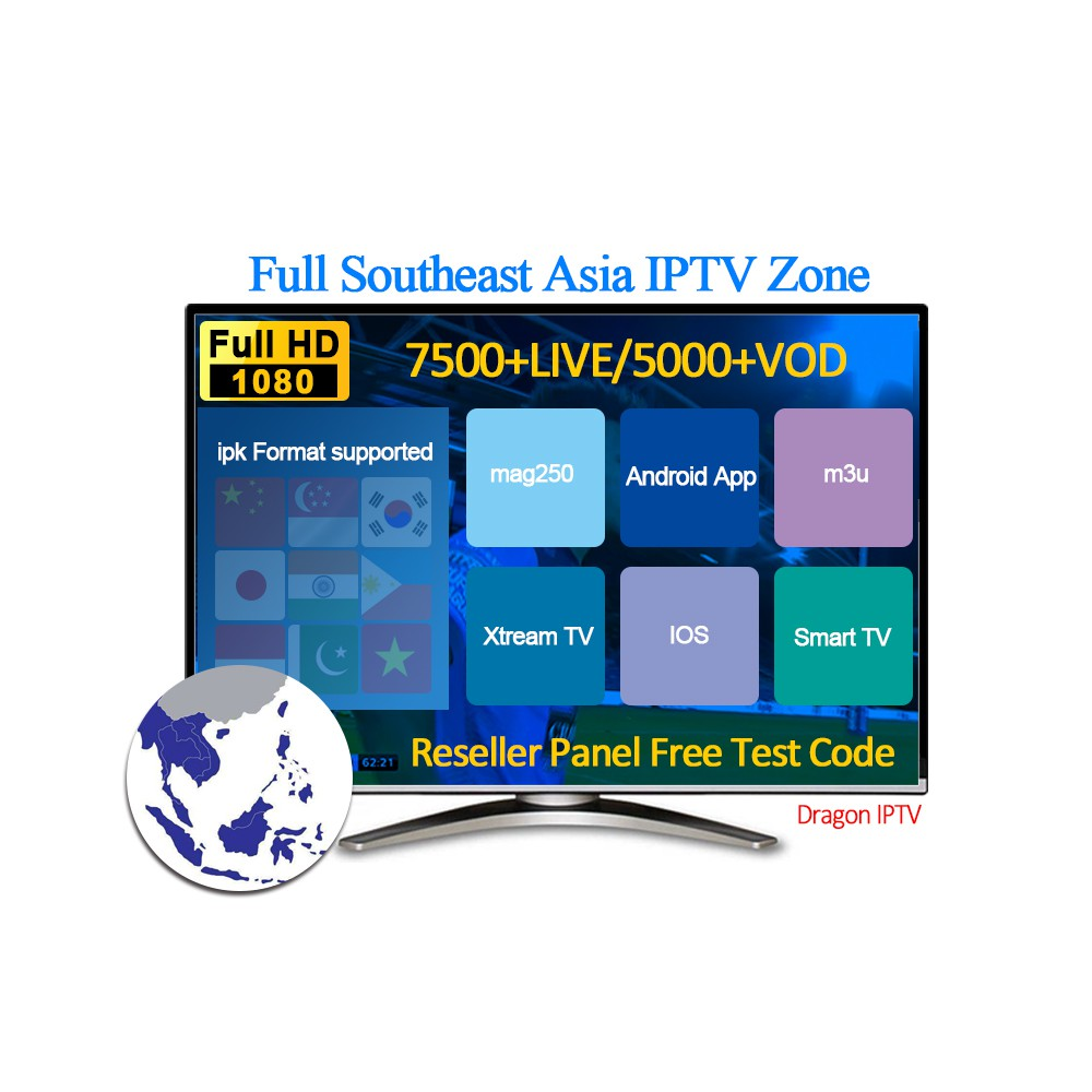 IPTV Smarters 7400+live TV and 5000+VOD Free testing full Southeast Asia  channel