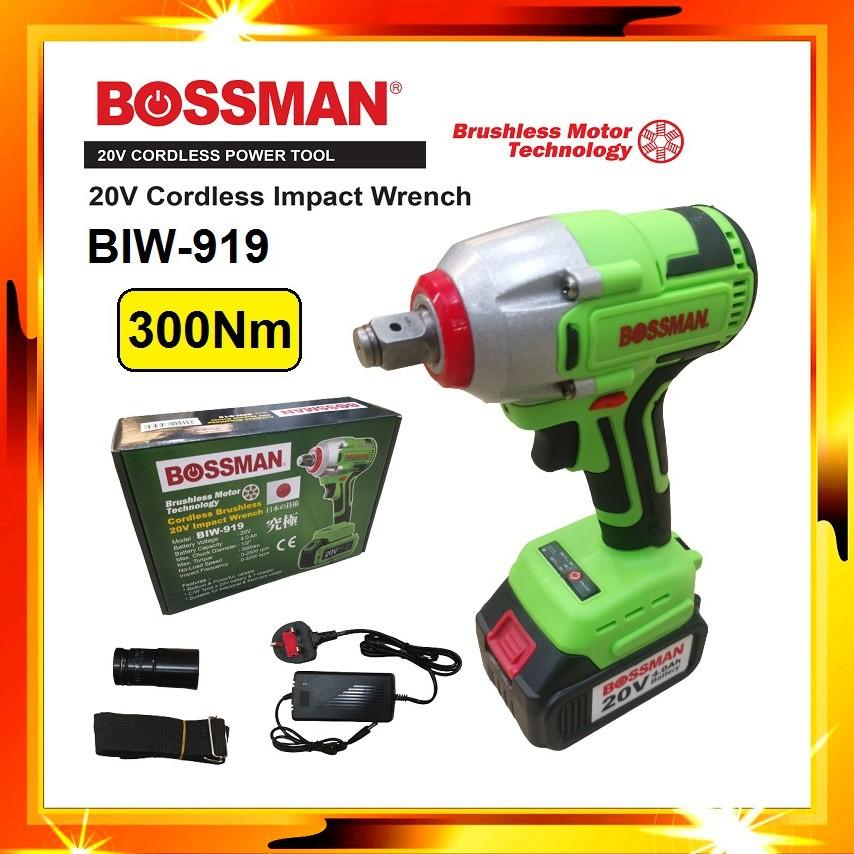 BOSSMAN 1/2 Inch Heavy Duty 300Nm Cordless Impact Wrench Electric Impact Wrench Socket BIW919