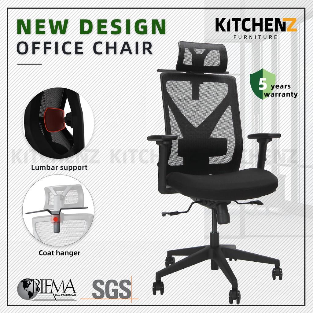 (5 Years Warranty) HomeZ Mike High Back Mesh Office Chair with Ergonomic Design / Kerusi Pejabat  - HMZ-OC-HB-MIKE-BK+BK