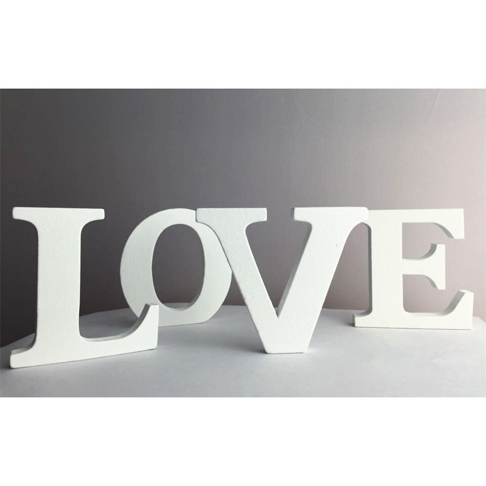 Plaques & Signs White Wooden Freestand Words Letters Love Alphabet Birthday Party Modern Decor