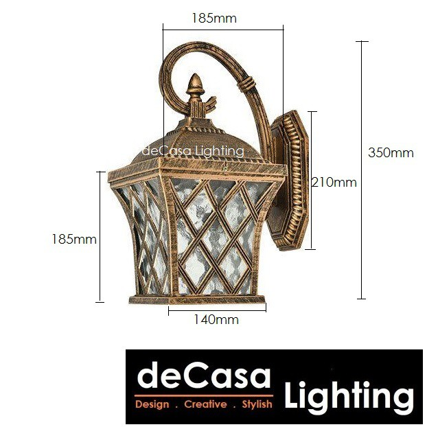 [Set With 9W LED BULB] DECASA LIGHTING Outdoor Wall Light  Weather Proof Outdoor Wall Lamp Lampu Dinding (0603-AB-W)