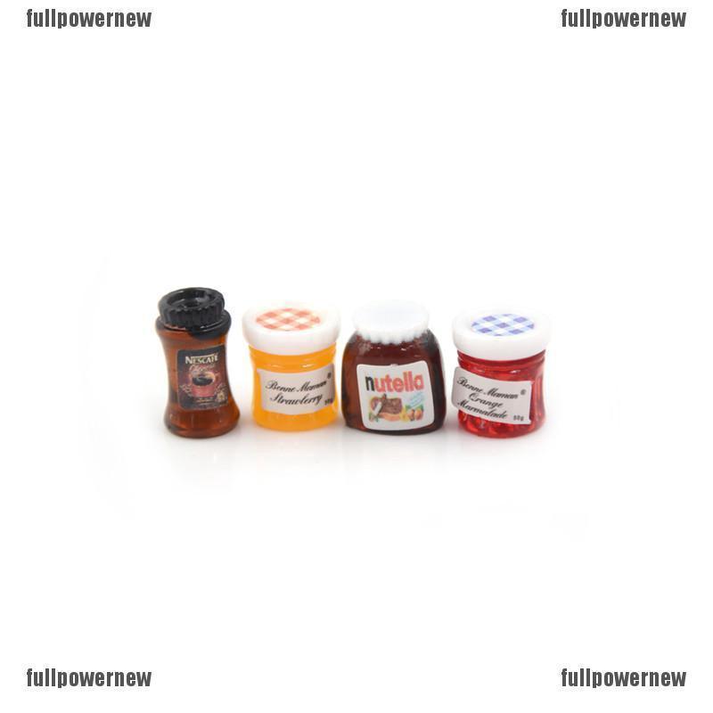 4pcs//set Dollhouse Miniature 1:12 Kitchen Food Jam Coffee Condiment DIY Decor6KL