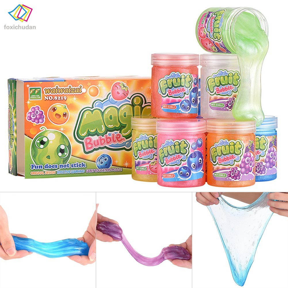 Fcd Clear Mud Slime Clay Plasticine Toy Stress Relief Diy Blowing Bubble For Children Kids