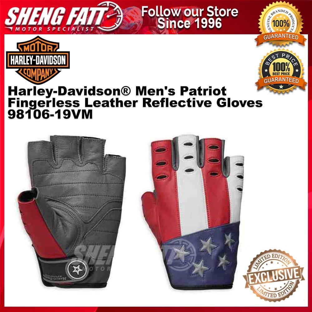 Harley-Davidson® Men's Patriot Fingerless Leather Reflective Gloves 98106-19VM