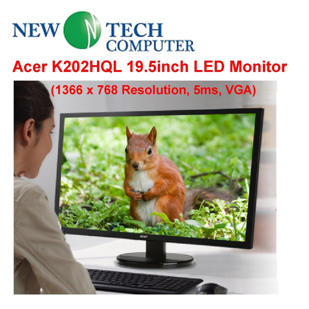 Acer K202HQL 19 5inch LED Monitor (1366 x 768 Resolution, 5ms, 200cd/m²,  100,000