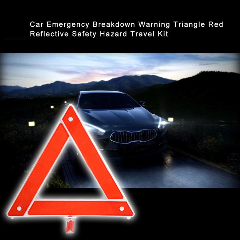 Car Breakdown Emergency Warning Triangle Red Safety Hazard Travel Kit Reflective